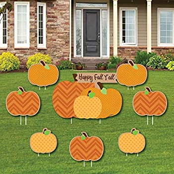 Big Dot of Happiness Pumpkin Patch - Yard Sign and Outdoor Lawn Decorations - Fall Halloween or Thanksgiving Party Yard Signs - Set of 8