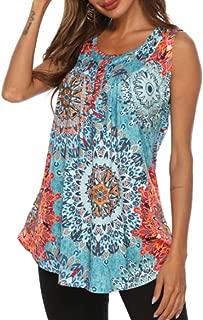 Jedyful Women's Summer Sleeveless V Neck Henley Shirts Floral Print Tank Top Flowy Lightweight Tunic Tops