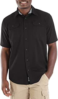 Short Sleeve Stretch Button Down Shirt (Large 42/44, Black)