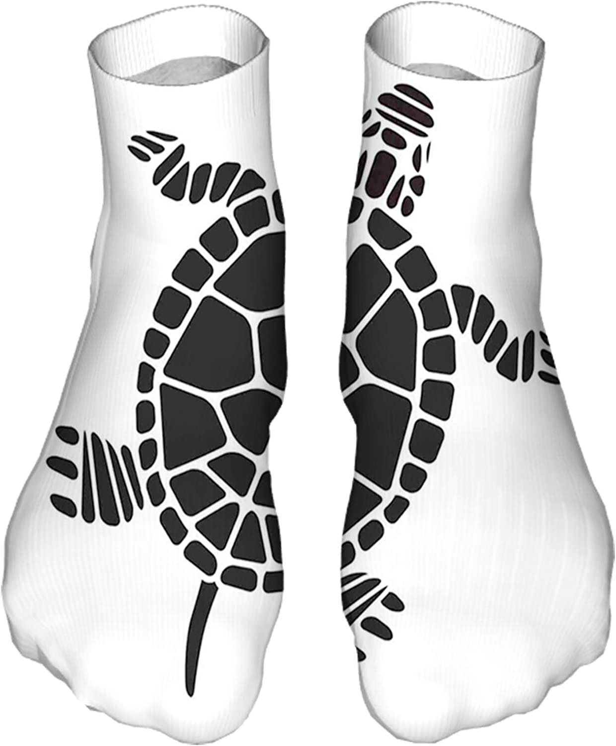 Women's Colorful Patterned Unisex Low Cut/No Show Socks,Geometric Shapes Forming Simplistic Design Mosaic Style