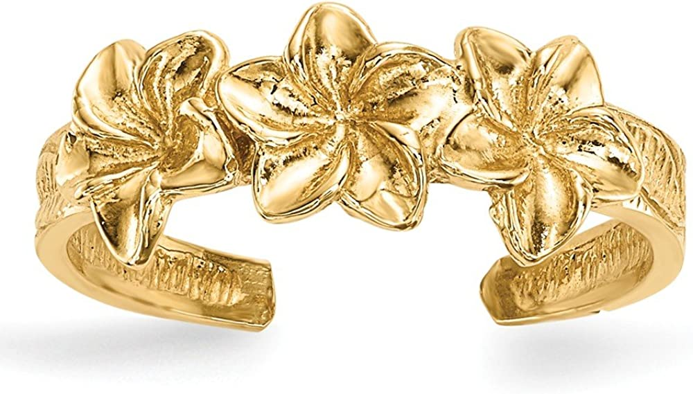 Solid 14k Yellow Gold Flowers Toe Ring Adjustable