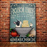 Boston Terrier Dog Gourmet Food Company Poster Badezimmer