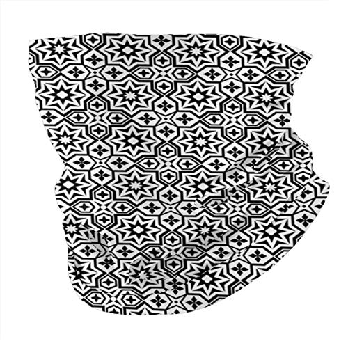 Q&SZ Sweatshirt Outdoor Headband Black Old Antique Kitchen Decor Floor Tiles Inspired Royal Star and Flower Like Image Black and White Scarf Neck Gaiter Face Bandana Scarf Head Scarf