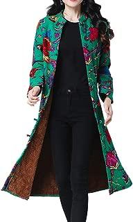 Womens Shirt Jacket Long Cardigans Flowers Print Ethnic Fleece Lined Warm Loose Coats Plus Size