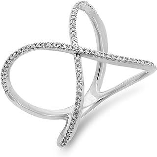Sponsored Ad - Dazzlingrock Collection 0.30 Carat (ctw) Round White Diamond Ladies Geometric Fashion Ring 1/3 CT, 10K Gold