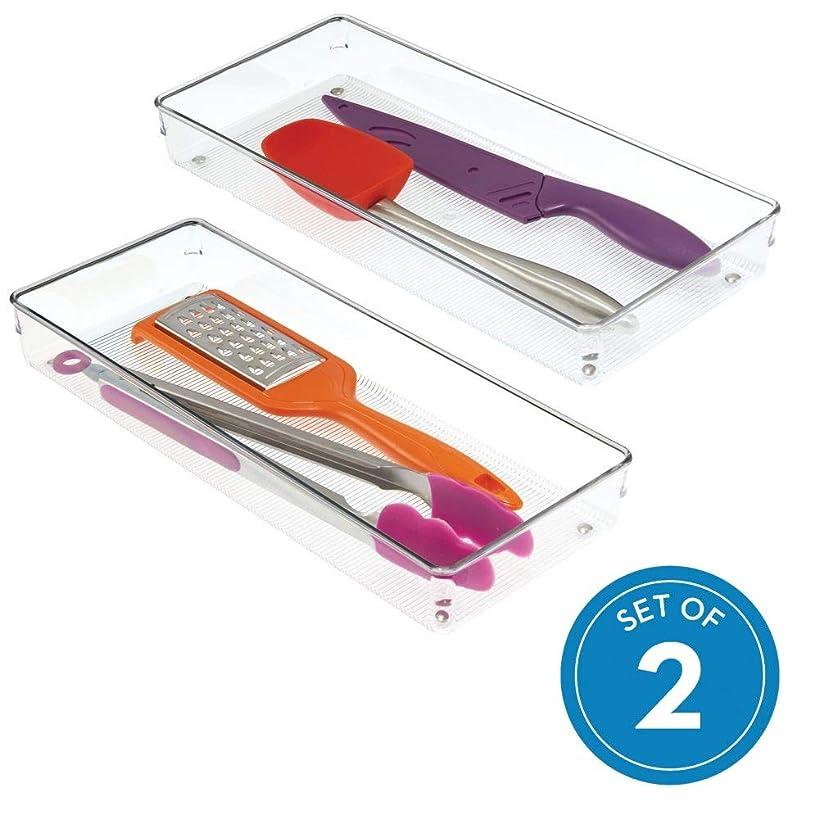 InterDesign Linus Plastic Kitchen Drawer Organizer for Silverware, Spatulas, Cutlery, Gadgets, Office Supplies, Cosmetics, Set of 2, Clear