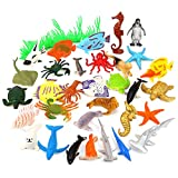 Auihiay 36 Piezas Ocean Sea Animals Surtido Mini Vinilo Plástico Juego de Animales