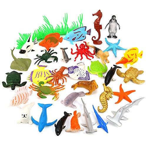 Auihiay 36Piece Ocean Sea Animals Assorted Mini Vinyl Plastic Animal Toy Set Realistic Under The Sea Life Figure Bath Toy for Child Educational