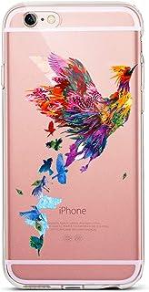 Karomenic Silikon Hülle kompatibel mit iPhone SE/5S/5 Kreative Cartoon Transparent Handyhülle Durchsichtig Schutzhülle Crystal Clear Weiche Soft TPU Tasche Bumper Case Etui,Vogel