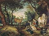 Artland Alte Meister Kunst Wandbild Jan Brueghel d.Ä. Leinwandbilder Renaissance 45 x 60 cm Der heilige Hubertus Kunstdruck Wand Gemälde R2DT