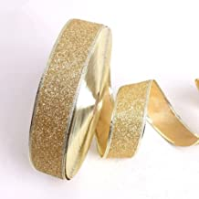 PIXNOR Gold Glitter Ribbon Gold