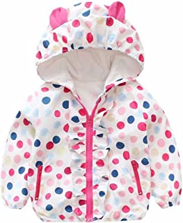 Baby Girls Cartoon Rabbit Outerwear Windbreaker Waterproof Raincoat Ruffle Zipper Hooded Jackets Coat
