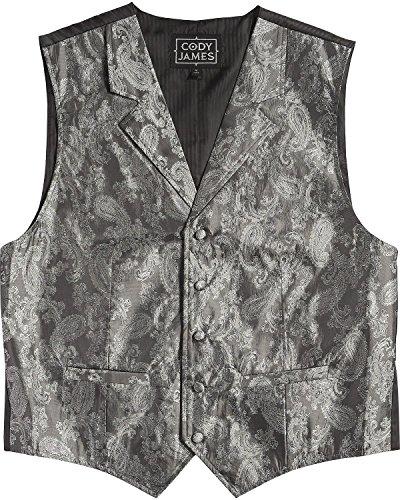 Cody James Men's Paisley Print Western Vest Silver X-Large