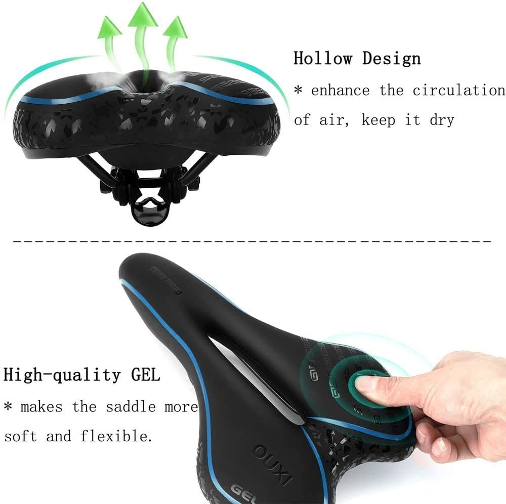 OUXI Bike Seat Comfortable Gel Bike Seat Memory Foam Cycling Bicycle Saddle with Dual Shock Absorbing Waterproof for MTB Mountain Bike Road Bike Men and Women