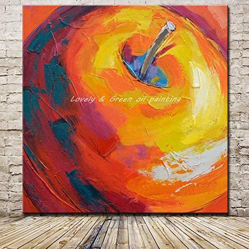Dekorative Malereiungerahmte Bilder Handgemaltes modernes abstraktes rotes Apfelölgemälde auf Leinwand Wandkunst Handgemaltes Ölgemälde Rahmenlose Innendekoration Wohnzimmer Schlafzimmer, 40X40Cm