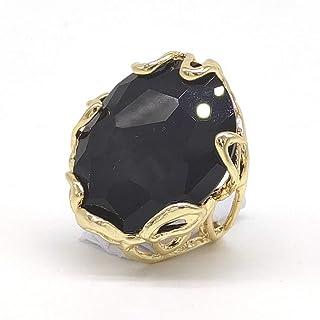 Anello regolabile con cabochon di Onice nera in bronzo, fatto a mano, pietre dure naturali