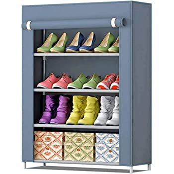 AYSIS Multipurpose Storage Organizer, 4 Shalves Portable Foldable with Nonwoven Fabric Cover Shoe Cabinet for Closet (Grey)