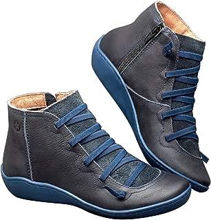 Women's Fashion Winter Martin Boots Retro Vintage Ankle Boots Thicken Velvet Female Shoes PU Inner Side Zipper - Blue 39