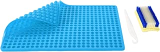 NonStick Silicone Baking Mats Bakeware, 1.2cm Hemisphere Baking Mould for Biscuits/Chocolate/Dog Treats/Puppy Cookies, Fat Reducing Cooking Mat + a Cake Stripping Knife + a Scrubbing Brush (Blue)