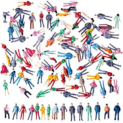 BESTZY 100pcs Persone passeggeri Figure 1: 75 Tiny People Pose Modello in Scala Multi Uso Figure dipinte a Mano