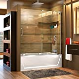 DreamLine Mirage-X 56-60 in. W x 58 in. H Frameless Sliding Tub Door in Chrome; Right Wall Installation,...