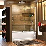 DreamLine Mirage-X 56-60 in. Width, Frameless Sliding Tub Door, 3/8' Glass,...