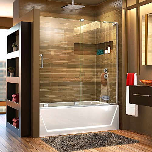 DreamLine Mirage-X 56-60 in. W x 58 in. H Frameless Sliding Tub Door in Chrome; Right Wall Installation