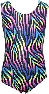 Gymnastics Leotards for Girls One-piece Sparkle Colorful Rainbow Dancing Athletic Leotards 2-11Years