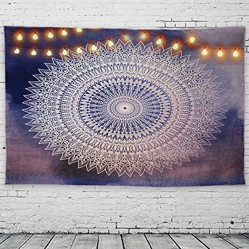 GeeRic Tapiz Pared, Tapiz de Mandala tapices de Pared de algodón Indio, Colcha de pícnic, Manta de Pared, Tapices Decorativos 150 × 230 cm púrpura Azul