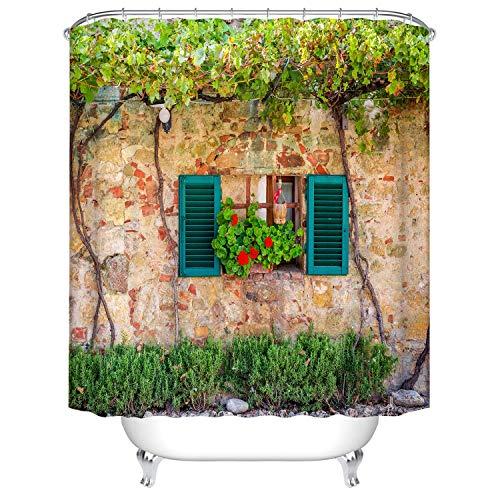 DJY-JY Cortina de ducha de esquina fuera de la pared, cortinas de baño, repelente al agua, antimoho, decoración de poliéster con 12 ganchos lavable a máquina, 180 x 180 cm