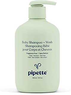 Pipette Baby Shampoo + Body Wash with Renewable Plant-Derived Squalane (Fragrance-Free, 12-Fluid-Ounce)
