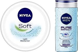 NIVEA Soft Light Moisturiser With Vitamin E, 200ml & MEN Hair, Face & Body Wash, Pure Impact Shower Gel, 250ml Combo