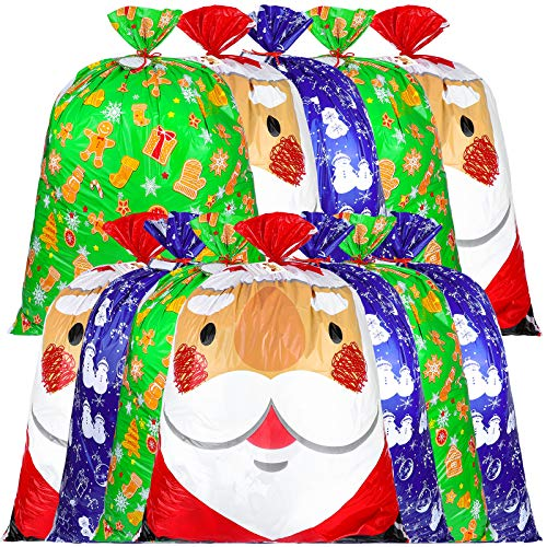 Aneco 12 Pieces 36 by 44 Inches Big Christmas Holiday Bags Storage Bag Giant Christmas Bags Holiday Bag with Tags String Giant Decorations for Holiday Presents or Decorations