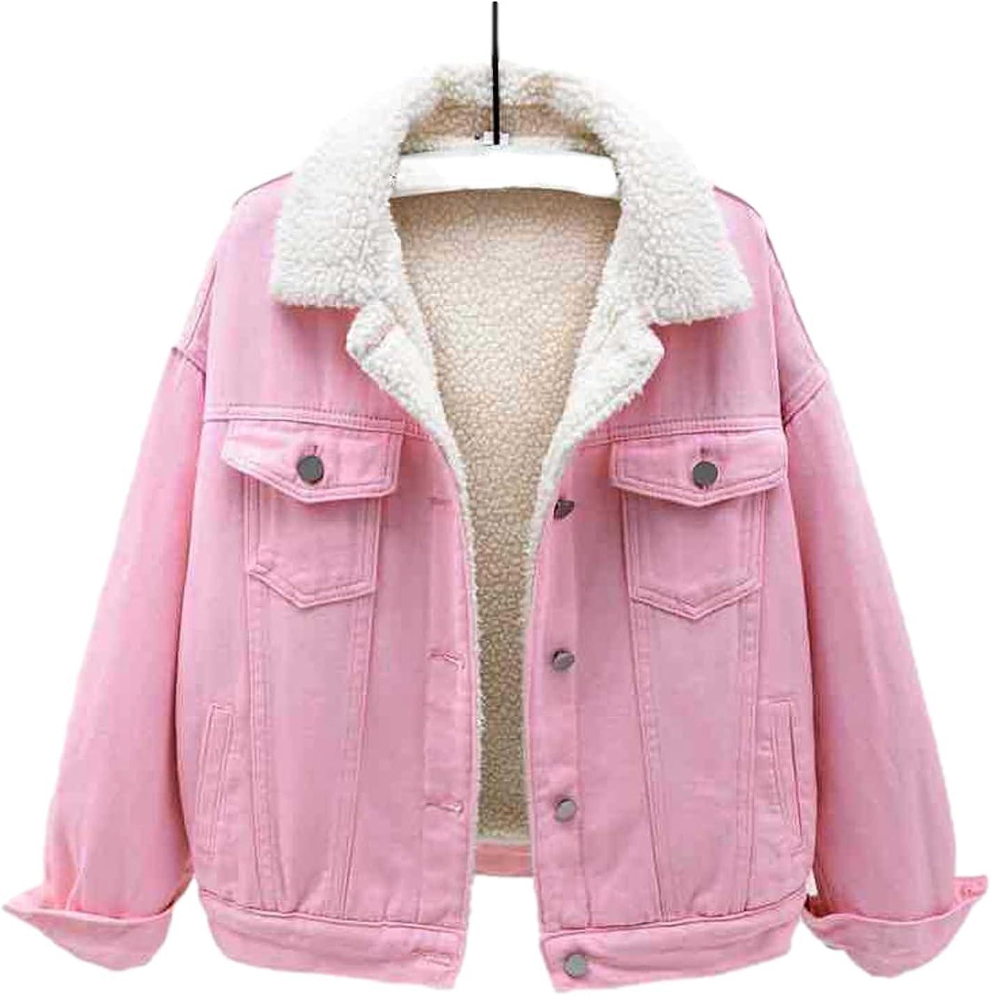 Bnigung Women's Winter Warm Fleece Lined Denim Jacket Lapel Long Sleeve Jean Coat