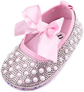 Baby Girls Mary Jane Flats Sparkly Bow Diamonds Princess Dress Shoes Anti-Slip Infant Crib Shoes