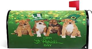 Spring Saint Patrick Day Dog Magnetic Mailbox Cover MailWraps Standard Size 20.8(L) x 18(W) Green Shamrock Irish Lucky St....