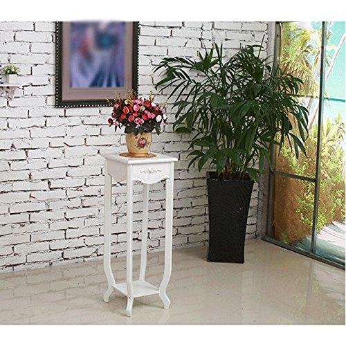 HTZ Salon européen de la sculpture pastorale en bois massif Porte de fleurs en bois massif Petite table ronde Étagères blanches ++ (Couleur : White 72cm silver)