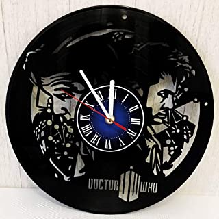 Doctor WHO Wall Clock Made from 12 inches / 30 cm Vintage Vinyl Record | TIME Lord Gift for Men Boys Husband | DR WHO Gift | Doctor WHO Merchandise |