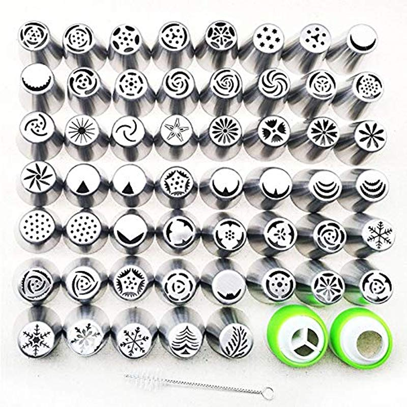 1 Piece 56 Styles Stainless Steel Russian Piping Cream Pastry Icing Nozzles Tips Baking Pastry Cake Decoration Tools Bakeware For Bakery