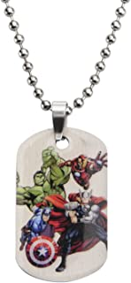 Marvel Comics Boys' Stainless Steel Avenger Characters Dog Tag Chain Pendant Necklace, 16""