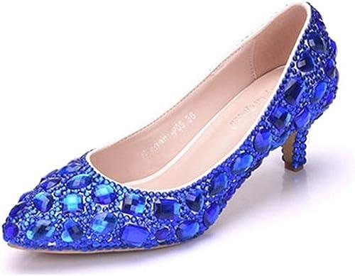 Qiusa Les Les dames Bas Talon Strass Perles Perles Robe de mariée Robe de mariée (Couleuré   bleu-6cm Heel, Taille   6.5 UK)