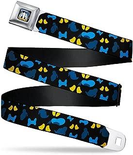 Men's Seatbelt Belt Regular, Donald Duck Elements Scattered Black/Blues/Yellow, 1.5