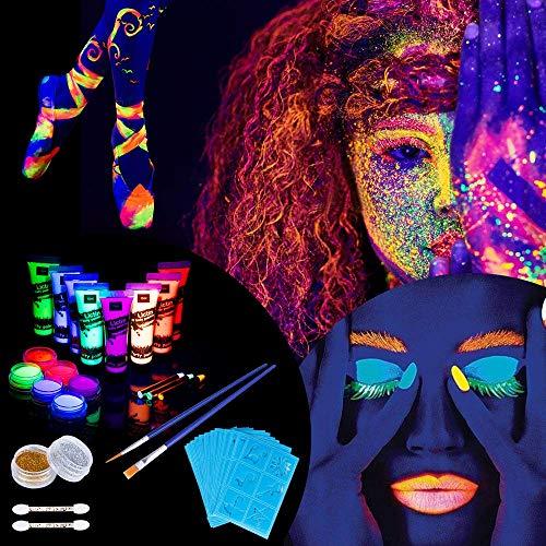 Lictin 43Pcs Pintura Corporal Pintura arte corporal UV Luz Negra Fosforescente maquillaje...