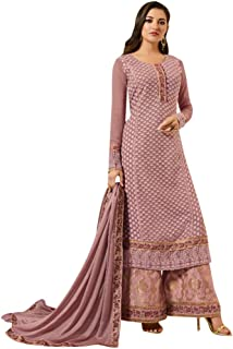 Light Purple Ready to Wear Heavy Georgette Straight Salwar Kameez Palazzo Suit Punjabi Muslim Dupatta 8619