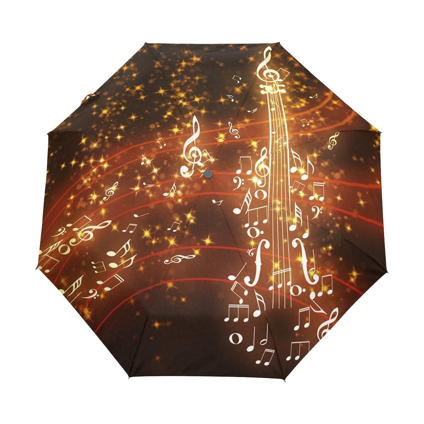 Automatic Umbrella Music Note Violin Windproof Compact Folding travel Umbrellas