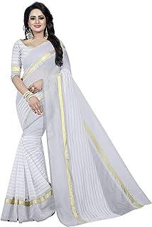 Jiya Enterprise Women's Cotton Saree with Unstitched Blouse Piece