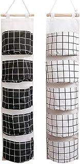 VASZOLA Lot de 2 sacs de rangement à suspendre sur la porte - Imperméable - En lin - Avec 5 poches - Pour chambre à couche...