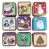 Handfly Caja Caja de hojalata de Navidad Papá Noel muñeco de Nieve Reno Caja de Dulces Hojalata de Metal Latas vacías para favores de Fiesta y Regalos -1pc Color Aleatorio