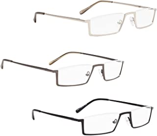 READING GLASSES 3 pack Metal Half-Rim Readers