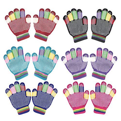 Kids Winter Warm Magic Gloves,6 Pairs Colorful Children Winter Full Finger Knitted Stretchy Anti-slip Winter Glove for Boys and Girls